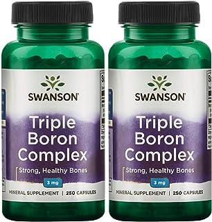 Swanson Triple Boron Complex Bone Support Supplement 3 mg 250 Capsules (2 Pack)