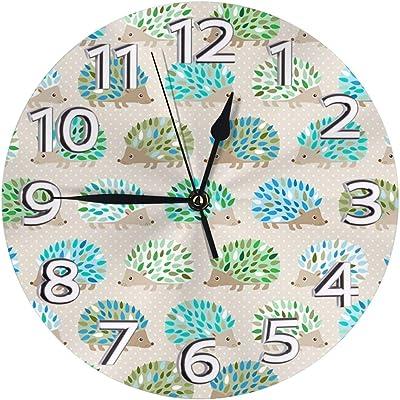 掛け時計 ハリネズミ水玉(2) 電波掛時計 本体サイズ:直径25×0.5cm 電波 アナログ コンパクトサイズ