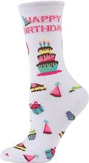 MeMoi Happy Birthday Bamboo Crew Socks | Women Novelty Socks