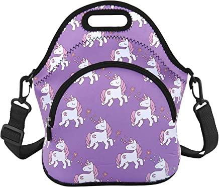 Cute Unicorn Lunch Bag for Kids Child with Zipper Pocket and Adjustable  Detachable Strap Waterproof Insulation a10b03f5d962