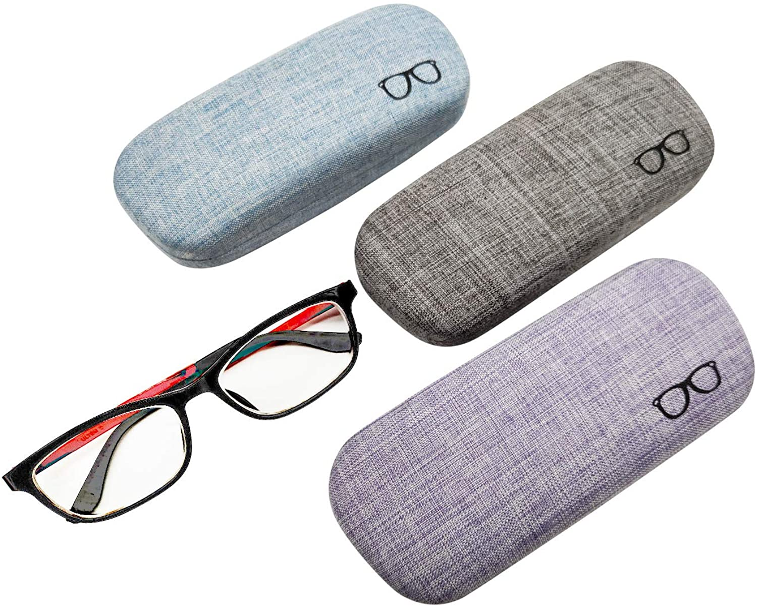 3Pack Hard Shell Eyeglasses Case Protector Linen Fabrics Large Glasses Case Concise