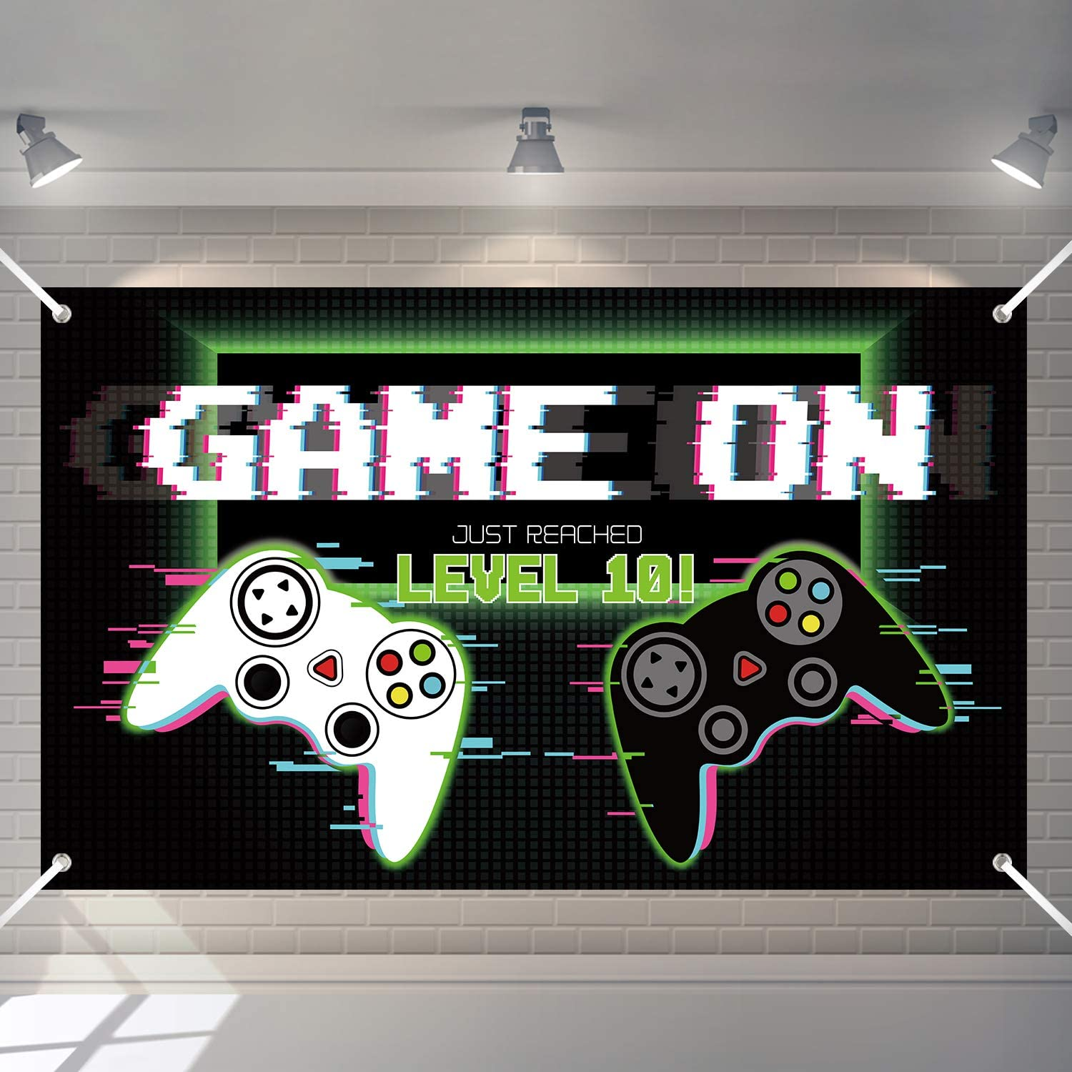 Video Game Backdrop Gaming Party Props Party Accessory Video Game Theme Party Decorations Background for Themed Birthday Baby Shower Party Decoration Supplies