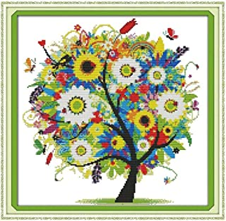 Exceart Embroidery Cross Stitch Kit Diy Tree Pattern Season Landscape Cross Stitch For Beginner Including Embroidery Cloth...
