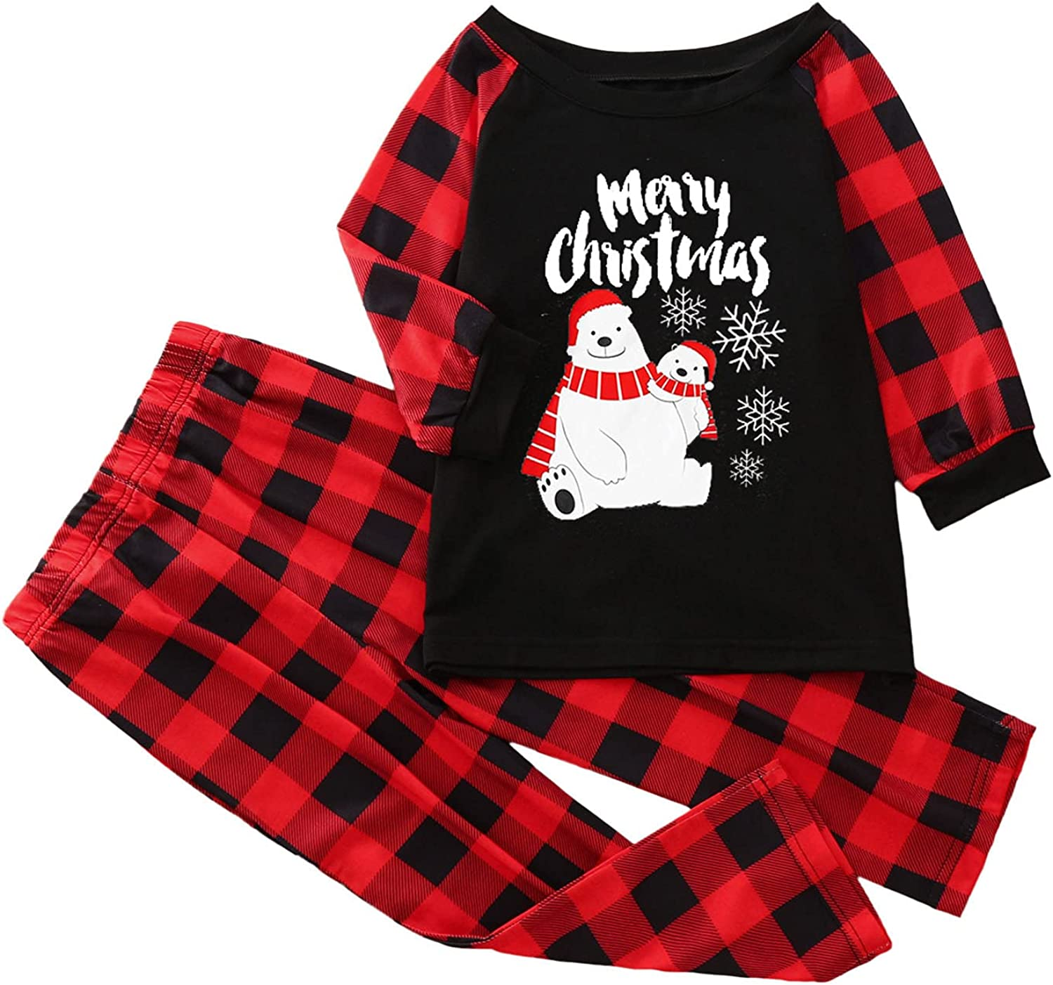 DVCB Christmas Pajamas for Family Round Neck Plaid Large Size Sleepwear Fall and Winter Cartoon Bear Print Homewear for Kids