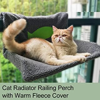 Cat Balcony Steel Frame Perch, Cat Hammock Seat, Space Saving & Safety Window Mounted Cat Bed for Cats Radiator Bed Cat Railing Perch Hammock Warm Fleece Bed for Cat Puppy Kitten Dog Pet