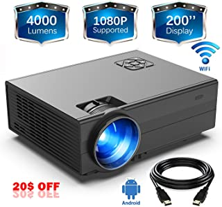 GIMISONIC WiFi Projector LED Portable HD 4000 Lux Video Projector 1080P Home Theater Indoor and Outdoor Compatible with TV Box PS4 HDMI VGA