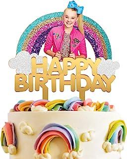 (JoJo Siwa) - LILIPARTY Acrylic JoJo Siwa Happy Birthday Cake Topper JoJo Rainbow Cake Topper for Girls Birthday Party Dec...