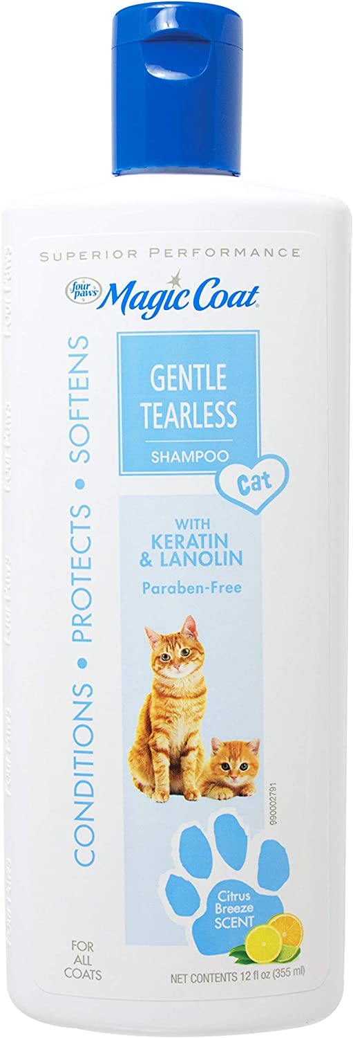 Four Paws Magic Coat Tearless Shampoo for Cats & Kittens Tearless Cat Shampoo 12 Ounces (1 Count) : Shampoo And Conditioner For Cats : Pet Supplies