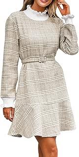 Miessial Women's Elegant Plaid Short Knit Dress Turtleneck Sweater Mini Dress Pullover