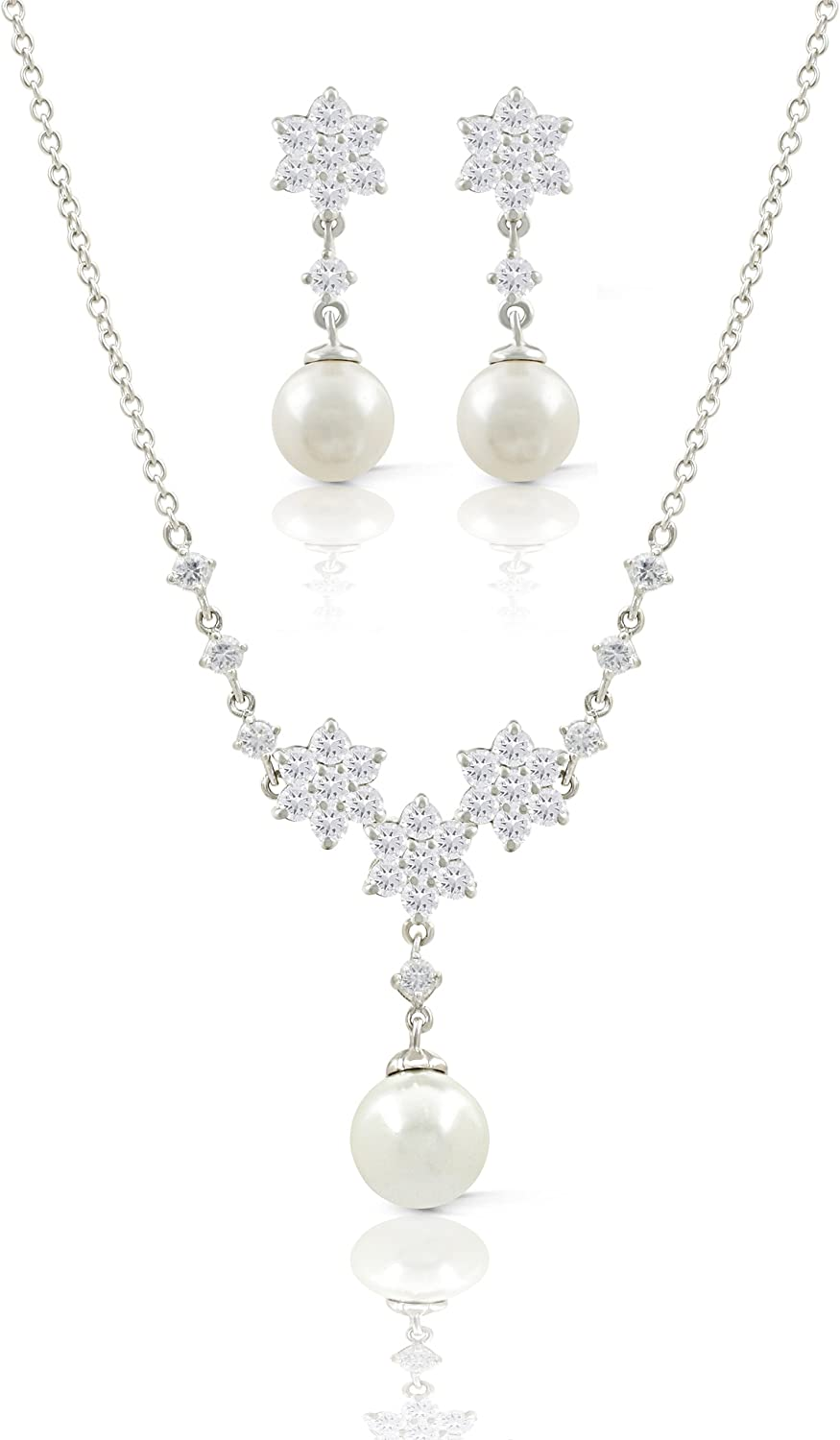 JanKuo Jewelry Rhodium Plated Bridal CZ Dangle Simulated Pearls Earrings Necklace Set, 16