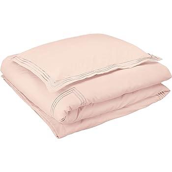 AmazonBasics Embroidered Hotel Stitch Duvet Cover Set - Premium, Soft, Easy-Wash Microfiber - Twin/Twin XL, Blush Pink