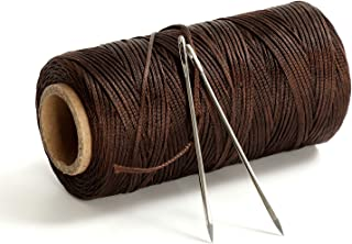 2 Needles 150 meter 1.2mm Flat Waxed Leather Threads Cord Leathercraft Tools