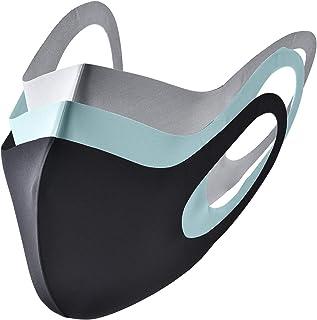 マスク 立体型 洗える 繰り返し使用可 3枚入り 男女兼用 (BL-GR-BU)