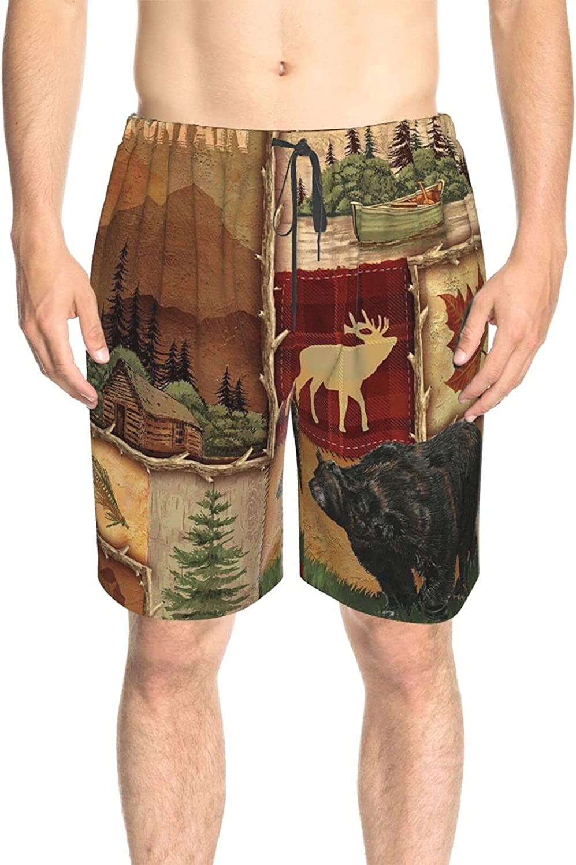 JINJUELS Mens Bathing Suits Rustic Lodge Bear Fish Swim Board Shorts Drawstring 3D Printed Swimwear Bathing Suits