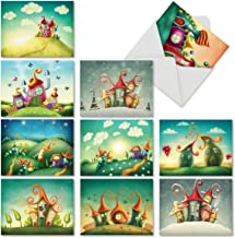 10 All-Occasion Note Cards with Envelopes 4 x 5.12 inch, Assorted 'Fantasy Suites' Stationery Set, Blank Greeting Cards for Baby Showers, Birthdays, Weddings, Thank Yous - NobleWorks M6476OCB