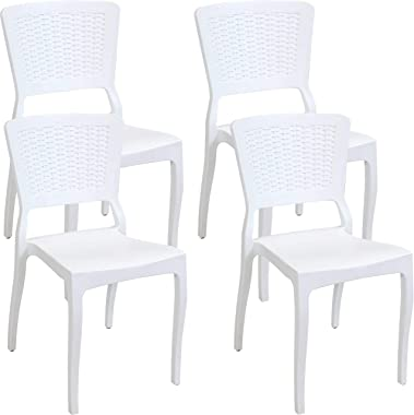 Sunnydaze Hewitt All-Weather Plastic Patio Outdoor Dining Chair - Commercial Grade Faux Wicker Design Chair - Lawn and Garden Chair - Indoor/Outdoor Use - White - 4 Chairs