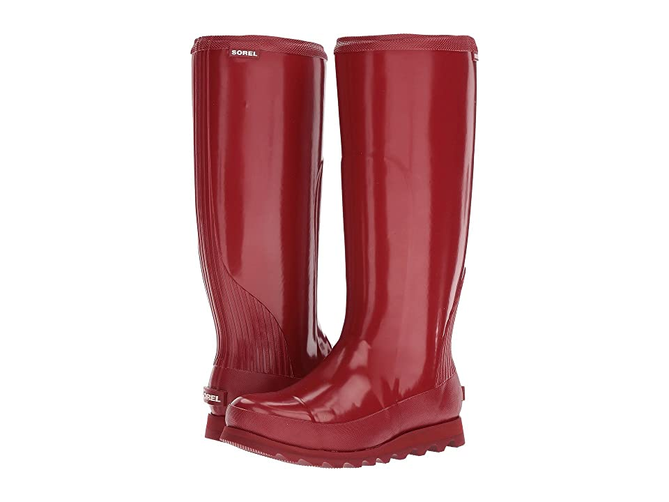 SOREL Joan Rain Tall Gloss (Red Dahlia/Candy Apple) Women