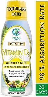Tropical Oasis Liquid Vitamin D3 - 5000 IU per serv – Promotes strong bones & healthy muscle function. PLUS natural mood booster– Liquid D3 supplement for Maximum 96% Absorption Rate- 16 oz - 32 Serv