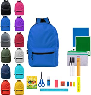 17 Inch Bulk Backpacks with 31 Piece School Supply Kits - Case of 24 Wholesale Backpacks in 12 Assorted Colors