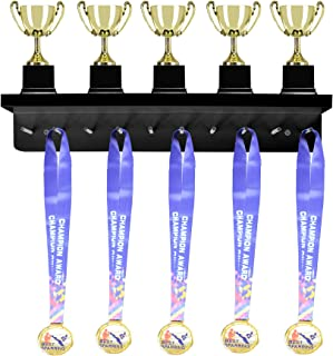 Medal Display Rack Hanger and Trophy Award Shelf Wall Mount with Peg Board