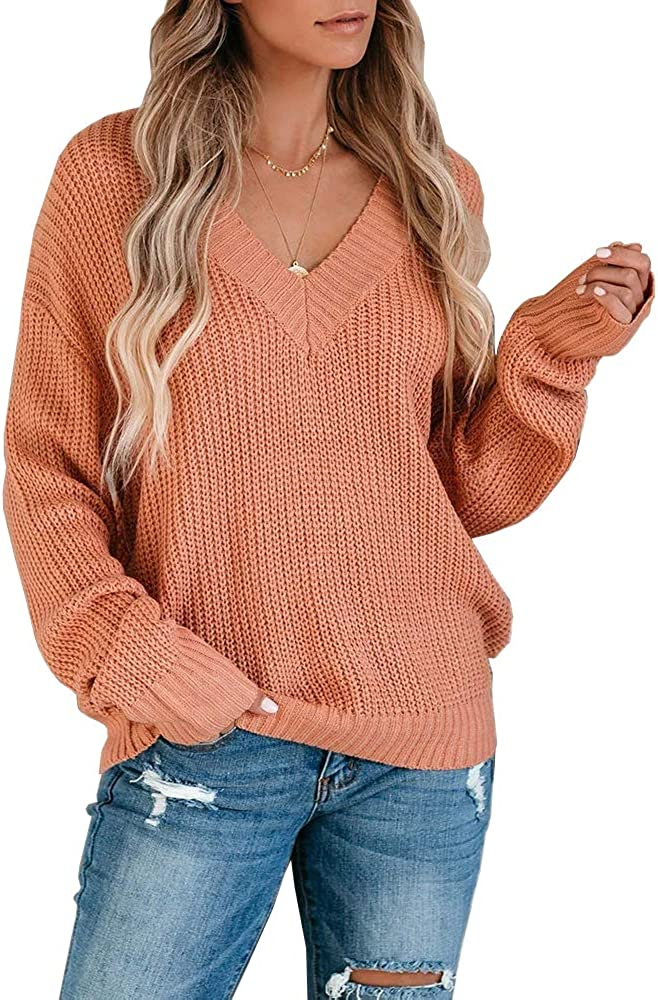 Carryvicty Womens Chunky Knit V Neck Sweater Casual Loose Long Sleeves Pullover Jumper Top