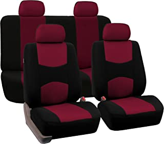 FH Group Universal Fit Full Set Flat Cloth Fabric Car Seat Cover, (Burgundy/Black) (FH-FB050114, Fit Most Car, Truck, Suv,...