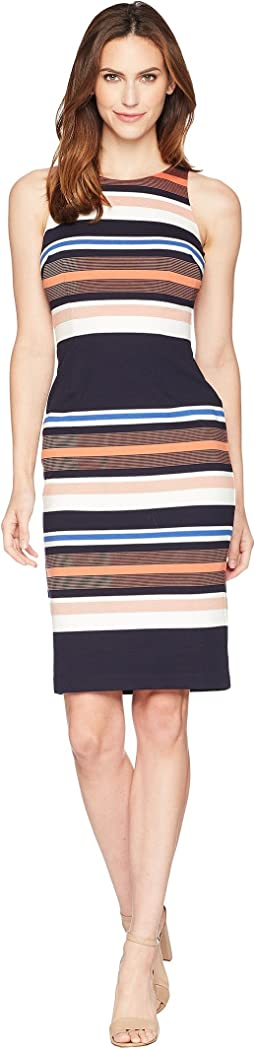 Adrianna Papell Yarn-Dyed Striped Sheath
