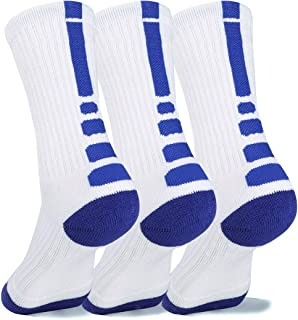 DISILE Elite Basketball Socks, Cushioned Dri-Fit Athletic Crew Socks - Thick Sports Socks For Men & Women