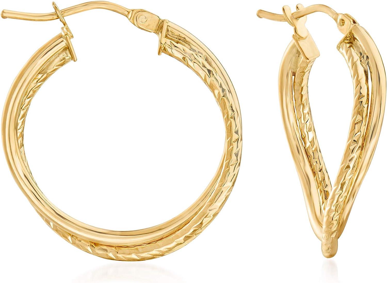 Ross-Simons Italian 14kt Yellow Gold Bent Double-Hoop Earrings