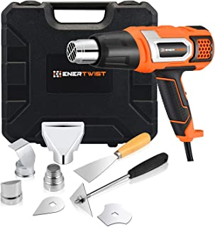 EnerTwist Heat Gun 1500 Watt Variable Temperature Control Hot Air Tool Kit Heating Protect for Shrink Wrapping, Paint Removal, Wiring, Tubing, Crafts, Vinyl Wrap, Automotive, Electronics Repair