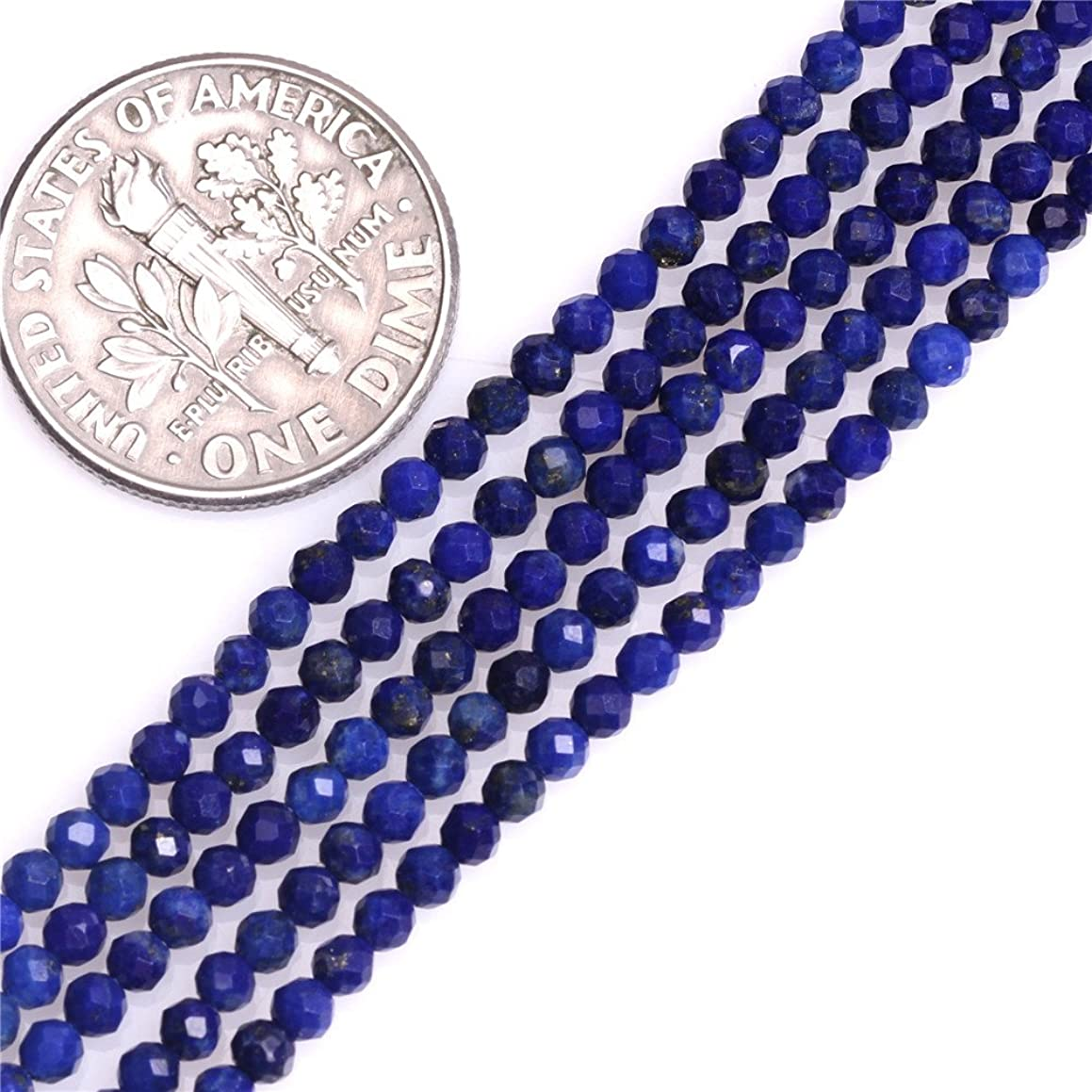Blue Lapis Lazuli Beads for Jewelry Making Natural Gemstone Semi Precious 2mm Round Faceted Spacer 15
