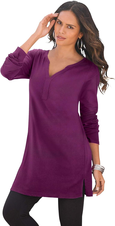 Roaman's Women's Plus Size Y-Neck Ultimate Tunic Long Shirt