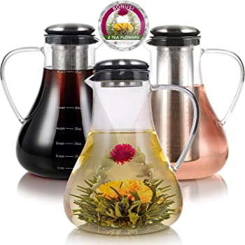 Teabloom Large Stovetop Safe Glass Teapot/Kettle/Pitcher (50 OZ / 1.5 L / 6 CUPS) – Hot or Iced Tea, Cold Brew Coffee, and Fruit Infused Water System – 2 Free Blooming Teas Included