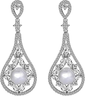 Cubic Zirconia White Simulated Pearl Bridal Rose Water Drop Dangle Earrings