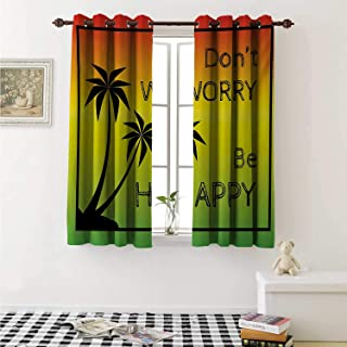 shenglv Rasta Drapes for Living Room Dont Worry Be Happy Music Quote of Iconic Singer Palms Ombre Colors Curtains Kitchen Window W96 x L72 Inch Lime Green Yellow Black