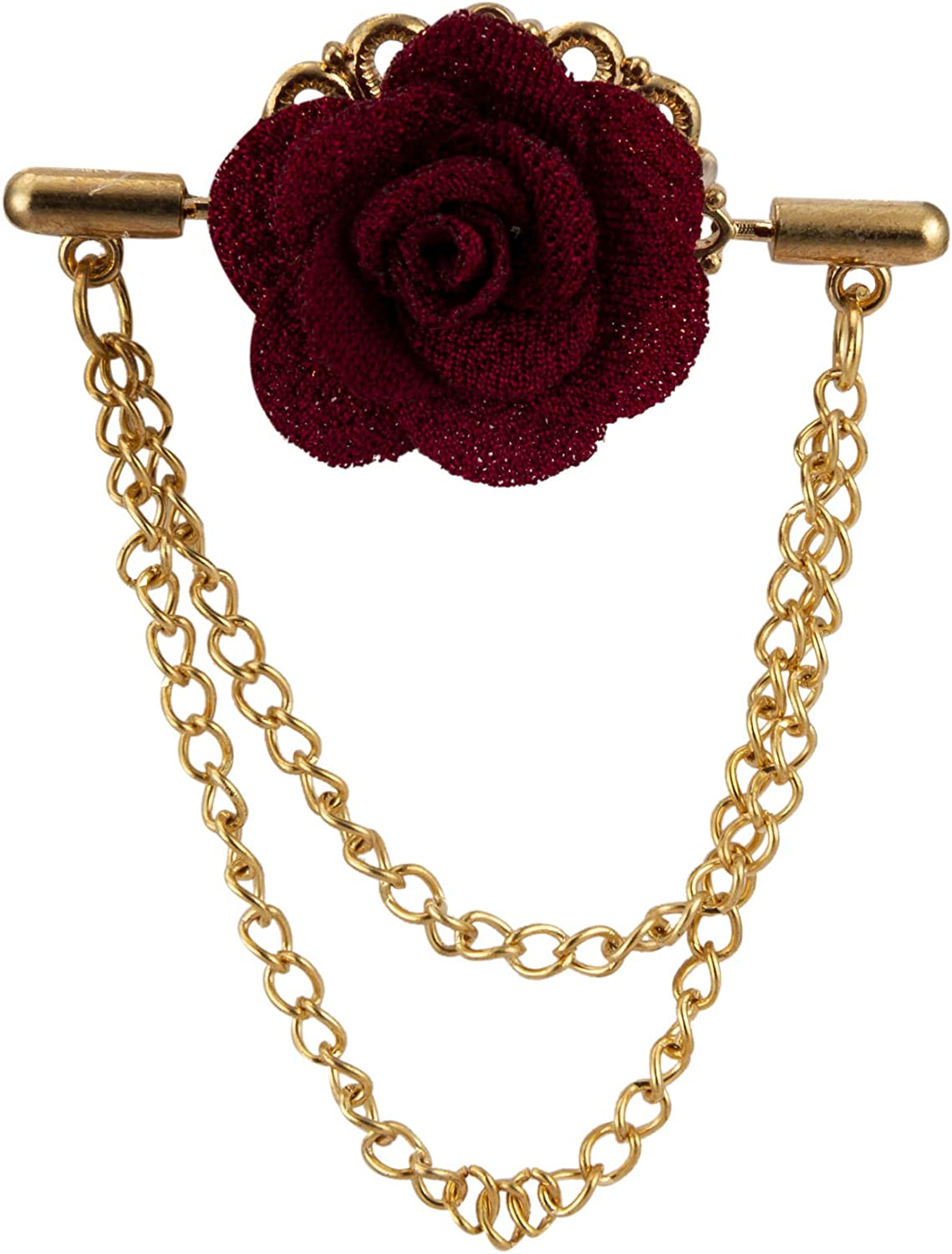 Knighthood Maroon Flower with Double Gifts Lapel Bro Hanging Very popular Pin Chain