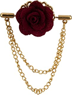 Maroon Flower with Double Hanging Chain Lapel Pin/Brooch