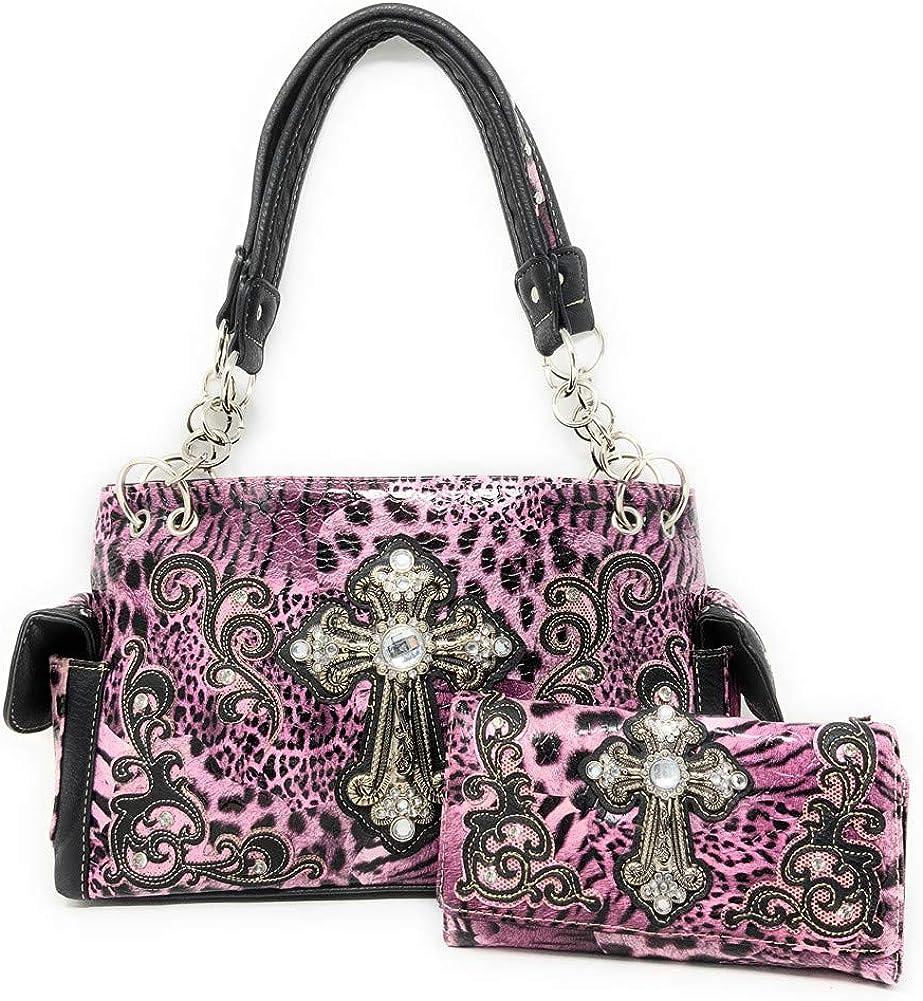 Premium Rhinestone Cross Buckle Handbag Leopard 海外並行輸入正規品 Carry 5☆大好評 Concealed
