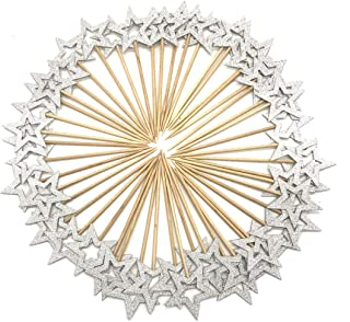 50 Pcs Silver Star Cupcake Toppers,Star Cupcake Toppers Twinkle Little Star Decorations Birthday Cupcake Toppers Glitter Star Cake Decorations for Party Birthday Wedding Ceremony (Silver)