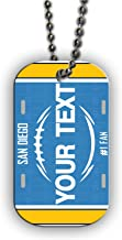 BleuReign(TM) Personalized Custom Name Football San Diego License Plate Single Sided Metal Military ID Dog Tag with Beaded Chain