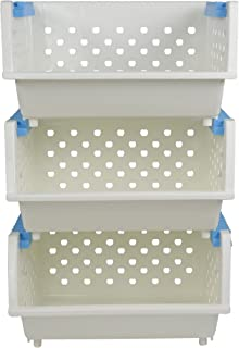 Hommp 3-Pack Plastic Stackable Detachable Storage Organizer, White Stacking Basket