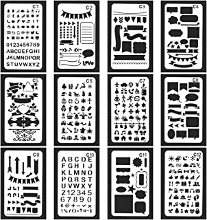 Vancool 24 Pack Bullet Journal Stencil Set Plastic Planner Drawing Template for Journary/Notebook/Diary/Scrapbook, 4 x 7 Inch, Over 1200 Different Patterns of Journal Stencil Painting