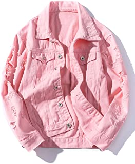 c6965a429387a ZLSLZ Womens Girls Cute Solid Distressed Ripped Long Sleeve Denim Jean  Jacket Coat Plus Size