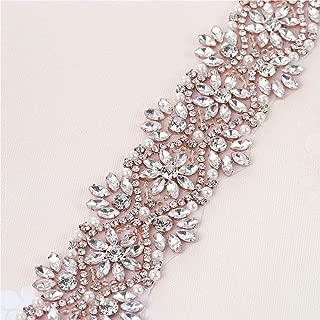 XINFANGXIU Rose Gold Beaded Wide Wedding Dress Rhinestone Belt Applique Crystal Bridal Wedding Dress Ribbon Sash Applique (Rose Gold-Wide)