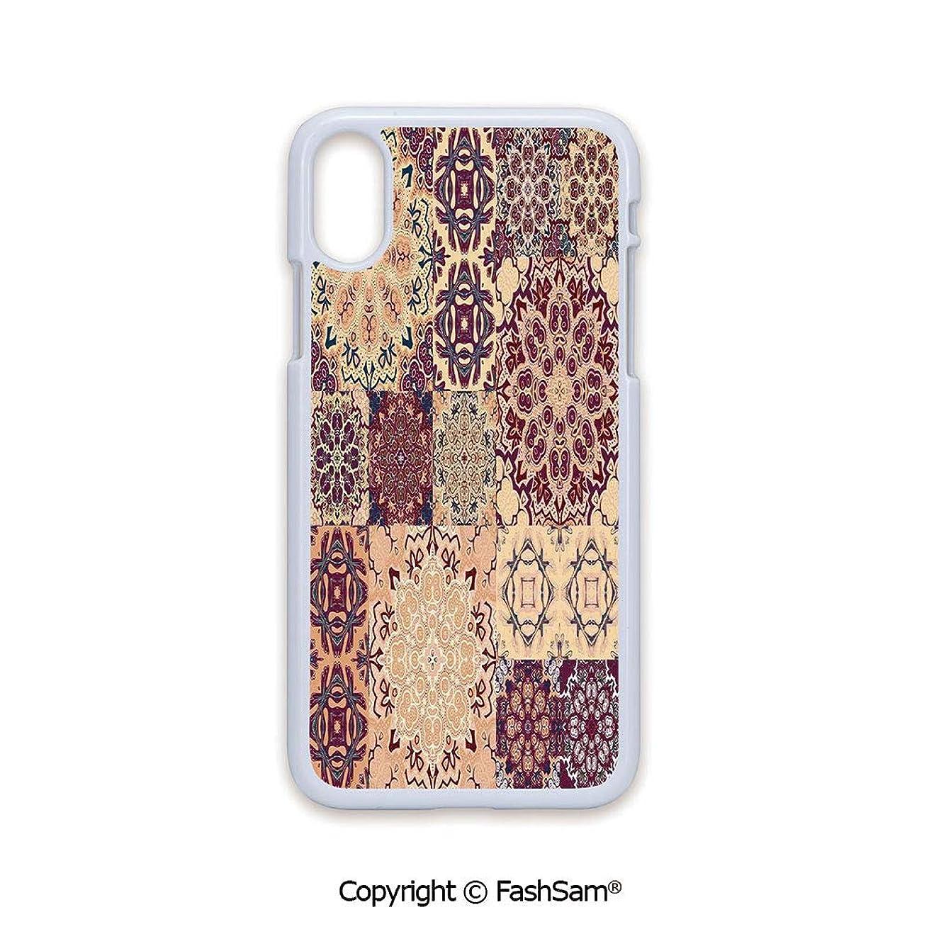 Plastic Rigid Mobile Phone case Compatible with iPhone X Black Edge Large Set of Colorful Vintage Ceramic Tiles Arabesque Authentic Floral Forms 2D Print Hard Plastic Phone Case