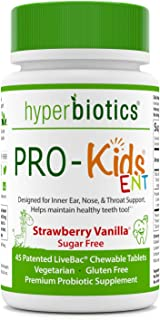 Hyperbiotics PRO-Kids ENT - Sugar Free Children's Oral Probiotics - Uniquely Formulated to Support Your Child's Ear Nose and Throat Health and Supports Healthy Teeth Too - 45 Chewable Tablets