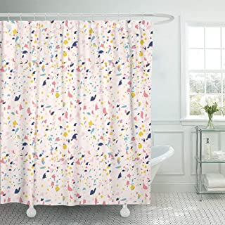 Sonernt Curtain Blue Confetti Terrazzo Pattern Inspired by Granite Colorful Marble Shower Curtain Bathroom Decor,Polyester Mildew Durable Waterproof Curtain