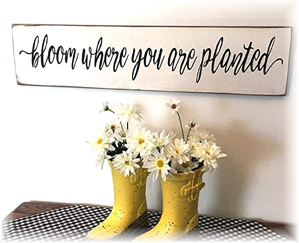 Bloom Where You Are Planted Vintage Wood Sign Rustic Wooden Signs Wood Block Plaque Wall Decor Art Home Decoration 4x24 Inch