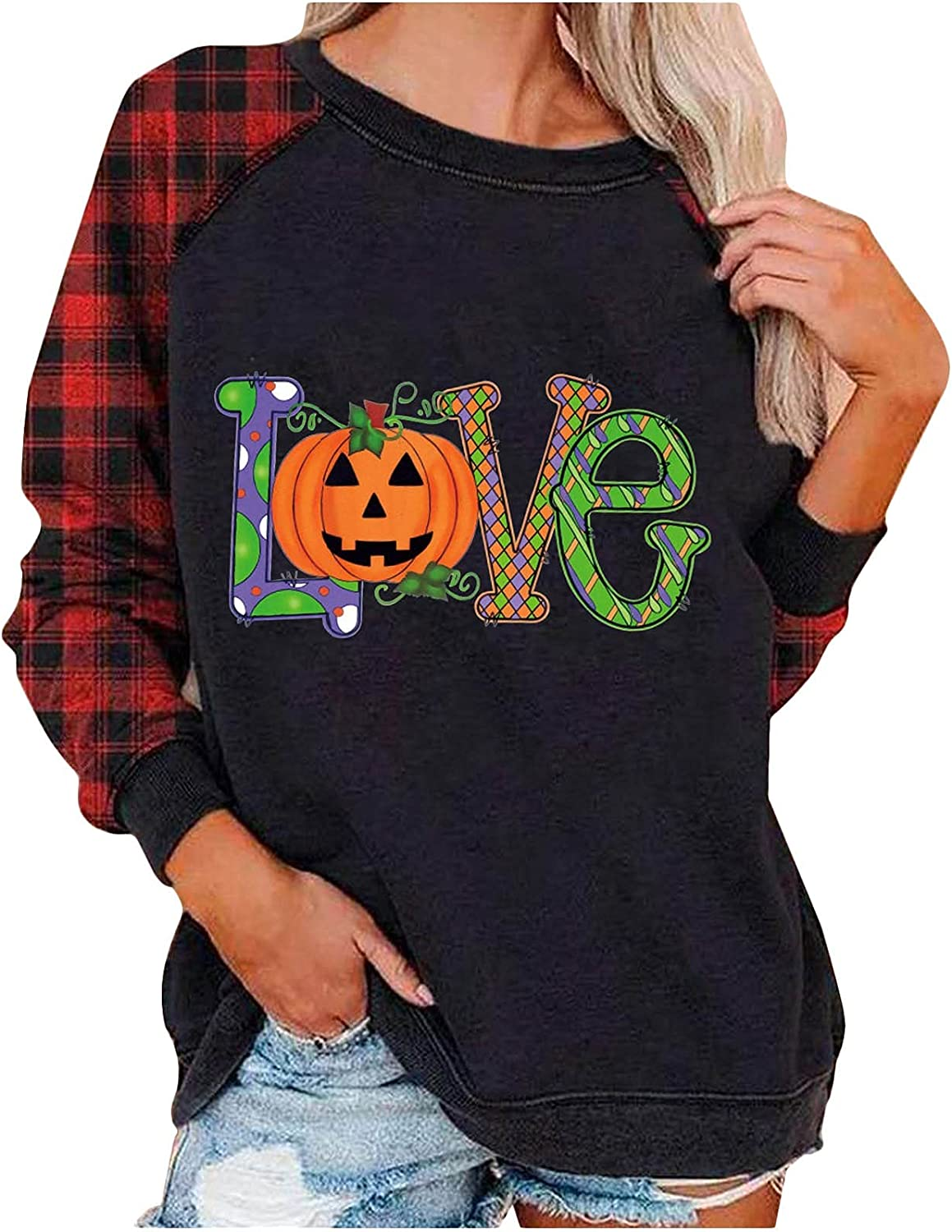 Manufacturer regenerated product Women's Happy Cash special price Halloween Long Sleeve Fit Sweatshirt Casual Loose