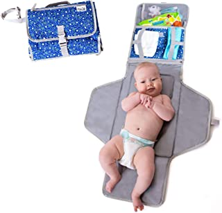 Baby Portable Changing Mat | Lightweight Travel Diaper Station Kit with Waterproof and Cushioned Pad | Foldable Pad with Pockets | Changing Organizer Bag for Toddlers Infants & Newborns | Blue